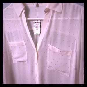 White rhinestoned Express collared top